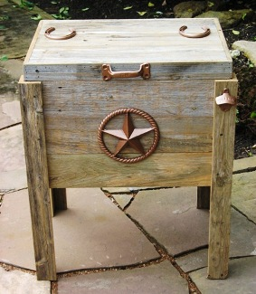 handmade weathered wood outdoor ice chest with sm bronze texas star decoration